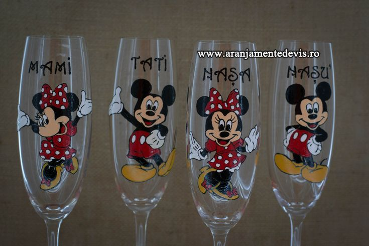Pahare pictate botez tematica Mickey si Minnie Mouse.