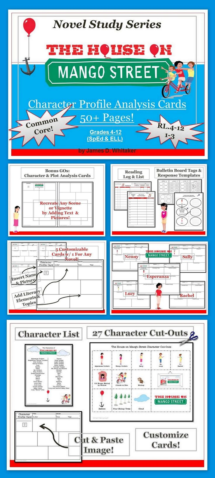 17 best images about the house on mango street mini house on mango street character analysis profile cards common core