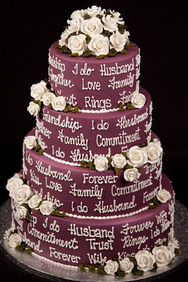 Lunds and Byerly's Wedding Cakes  - Words of Love - Plum -    This trendy cake is inscribed with beautiful words of marriage and love. Together, commitment, friendship and celebration are only some of the embellishments listed. Personalize it with some of your own vows!