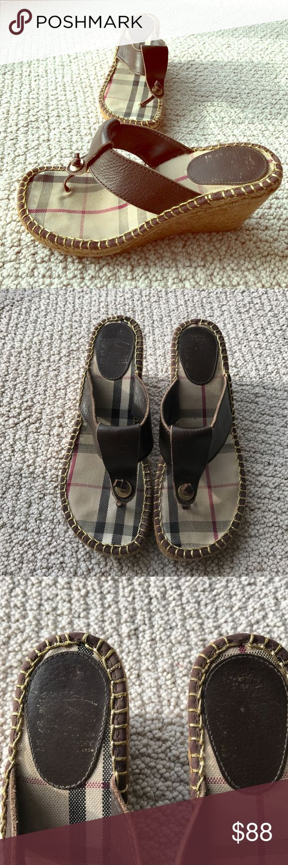 """Burberry Metallic Espadrille Wedge Sandals Perfect for spring and summer! Metallic leather Burberry espadrille sandals with tonal stitching and jute wedge heels. Very light wear, Burberry emblem has mostly worn off of the insoles. Padded fabric and leather insoles. Rubber soles. Leather upper. Made in Spain. Size 38 European. Heel height is 3.125"""". Platform is 0.75"""". No trades please! Burberry Shoes Wedges"""