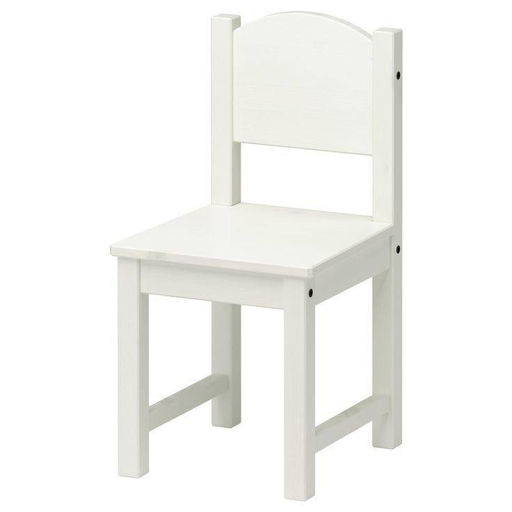 SUNDVIK Children's chair - white - IKEA $19.99 each  seat height 11 3/8 depth 11 3/8 width 11 height 21 5/8