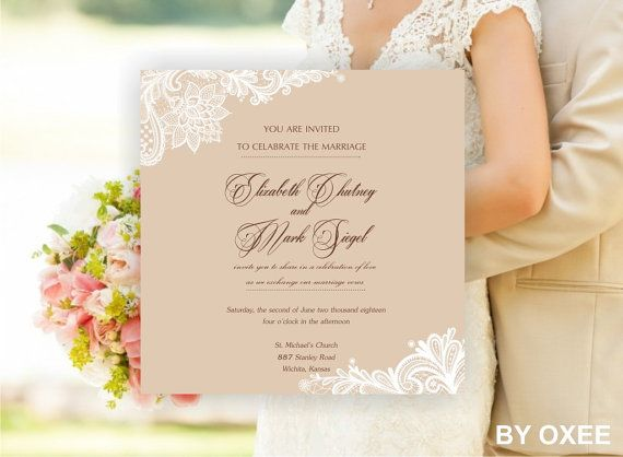 Printable Wedding invitation template Vintage lace pattern by Oxee