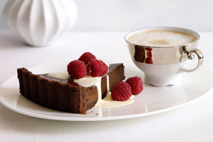 Treat your Valentine to a sinfully delicious chocolate tart topped with juicy raspberries.