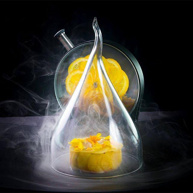 Smoked Herring, Aubergines, Peppers, Peach and Herbal Tea by @stam halfmike