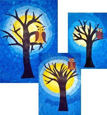 eule vor dem mond- Bemalen von zwei A4 Zeichenblättern mit Gelb- bzw. Blautönen (von fast weiß bis dunkel) Herausschneiden einer gelben Kreisform als Mond Aufkleben auf blaues Tonpapier (ca. A4) Ausschneiden kleiner Mosaikteile aus dem restlichen gelben Papier und dem blauen Umkleben des Mondes (jeweils von hell nach dunkel) bis das ganze Blatt ausgefüllt ist Aufmalen eines Baumes auf schwarzes Papier, dieser wird dann vor den Mond geklebt Gestalten (mit Wasserfarben) und Aufkleben der Eule