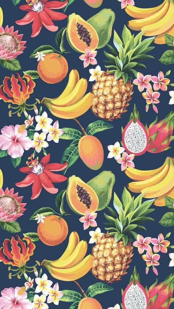 Summer Wallpaper Fruits Passion Fruit Pineapples Bananas Flowers Black Background Cute Summer Wallpapers Cute Wallpapers Cute Computer Backgrounds