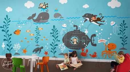 Imaginative under sea wall murals design ideas in kids for Children wall mural ideas