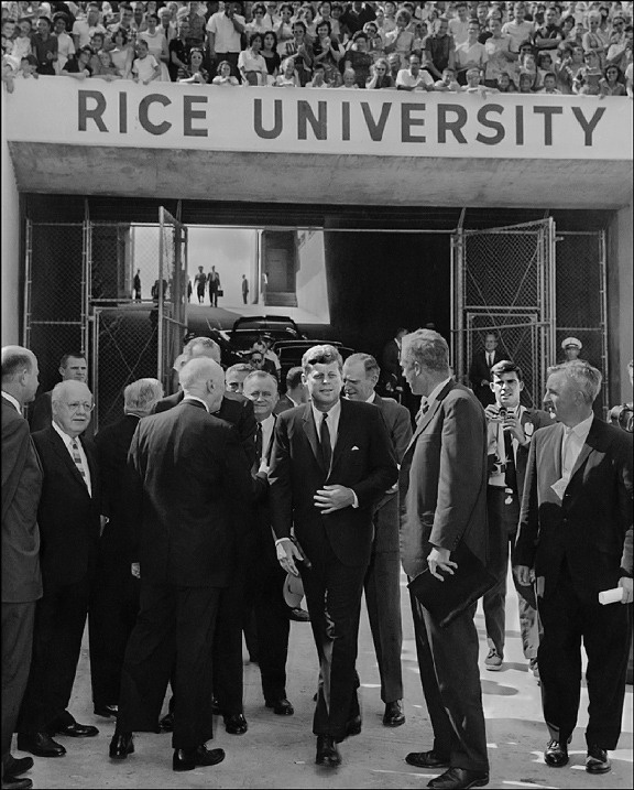 A rare snapshot of the president entering the Rice Universtiy stadium in Houston, Texas before making his famous 'We Choose To Go To The Moon' speech ~ Sept. 12th, 1962