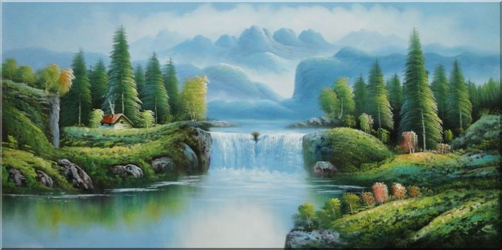 Waterfall Lake Peaceful Mountain Scenery Oil Painting 24
