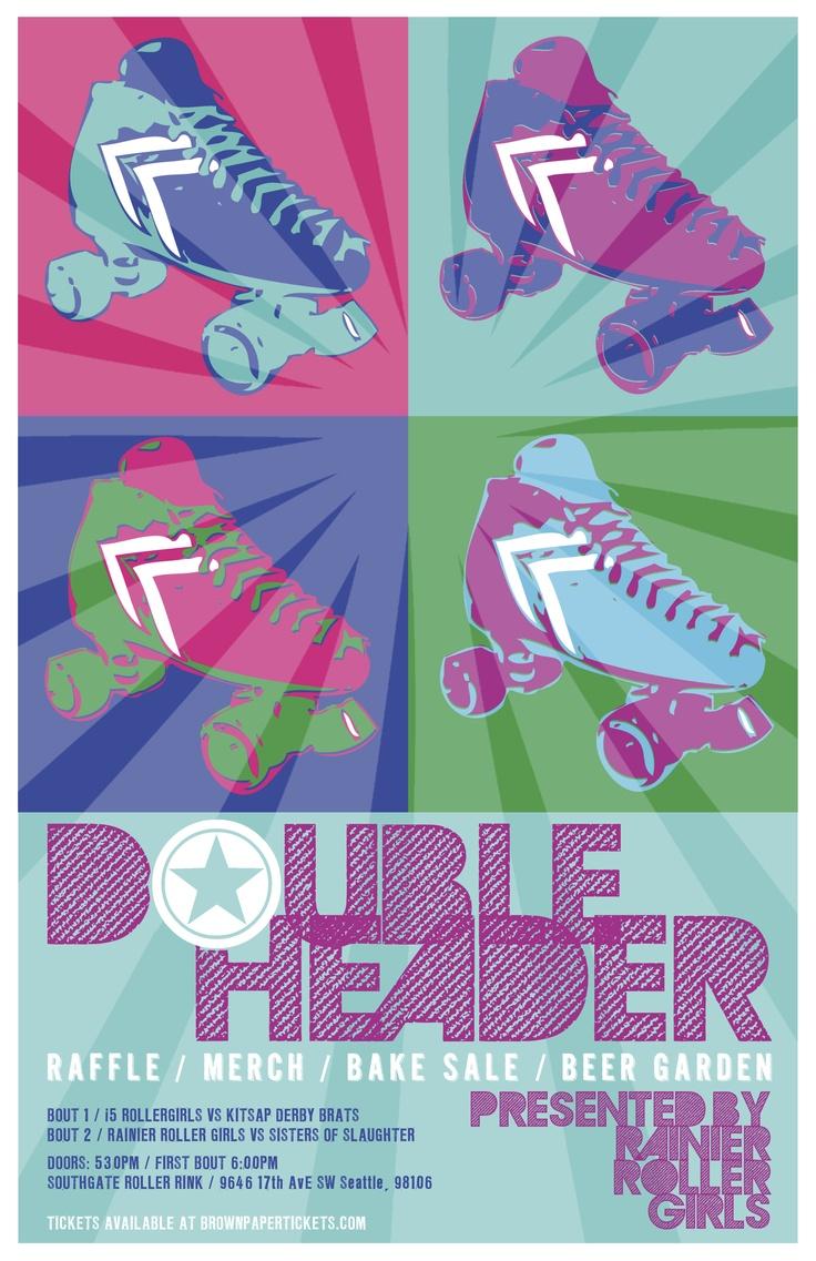 Roller shoes perth - Roller Derby Poster Pop Art Inspired Double Header Rainier Roller