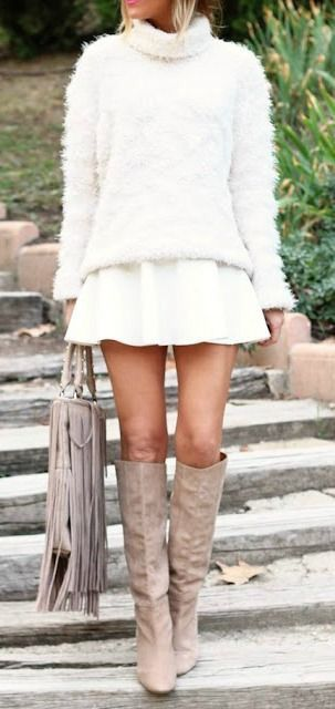Fuzzy sweater + fringe purse.