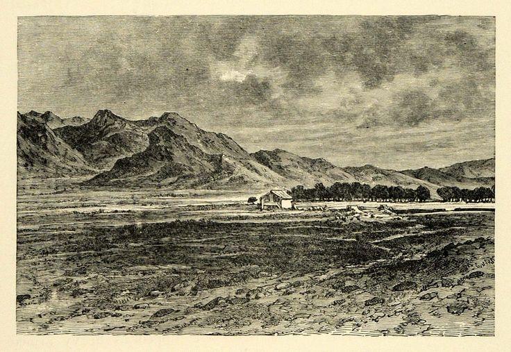 1890 Wood Engraving Plain Megara Eleusis Mount Parnes Attica Greece XHA1