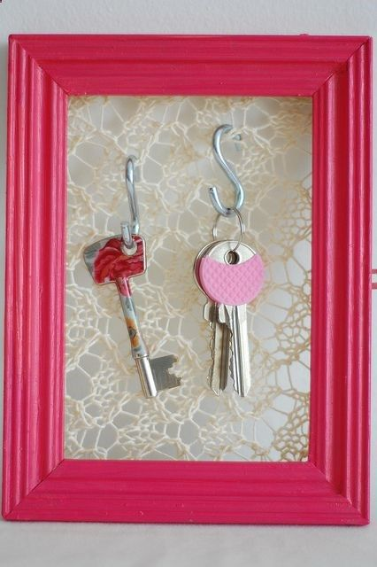 Staple Lace Fabric To The Back Of A Picture Frame, Add Some S Hooks To