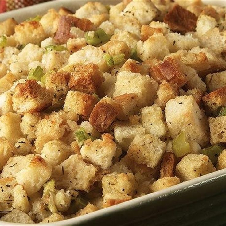 This is a classic stuffing recipe. Enough for a 12 lb. Turkey. It is adapted from a Betty Crocker cookbook I received 58 years ago as a wedding present and have made every year since.