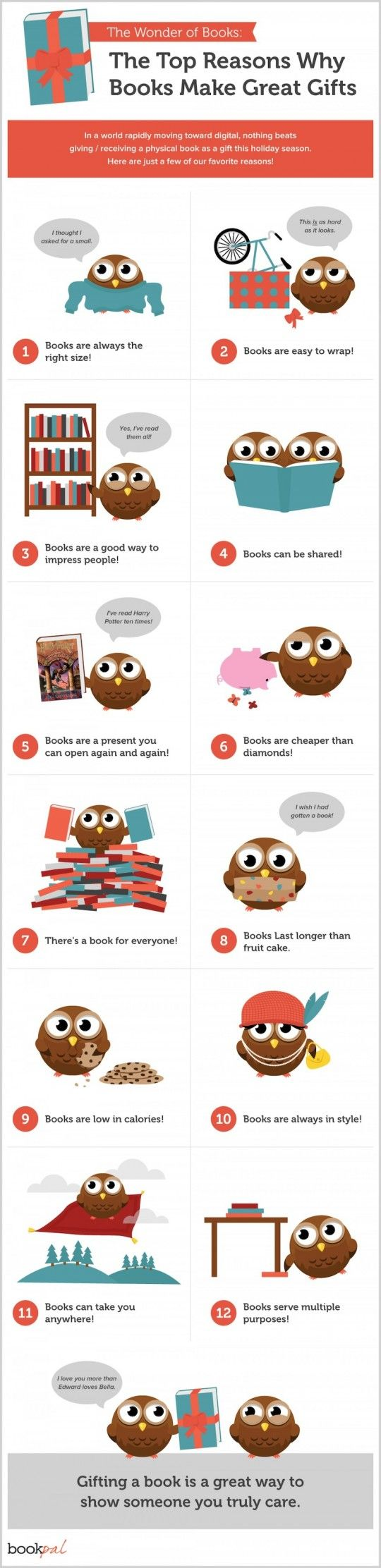 12 reasons why books make great gifts (infographic)  --  Designed by WPromote  for BookPal, a site that promotes literacy and education, the infographic comes handy when you get lost in gift ideas. -- Gifting a book is never too obvious, too boring or too unimportant. No matter whether for Mother's Day, Christmas, or Valentine's Day, the book is always a way to show someone you truly care.