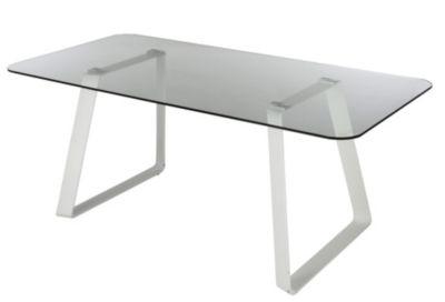 Mobilier - Le Coin Repas - Tables - Table rectangle LOUANE verre/blanc