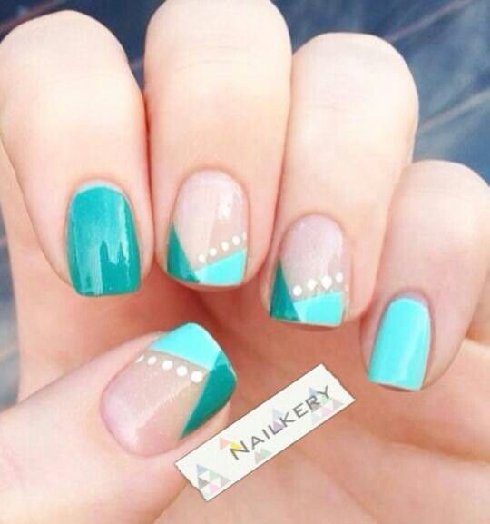 Love the design pattern on these! And the color, of course! #TealNails #NailArt