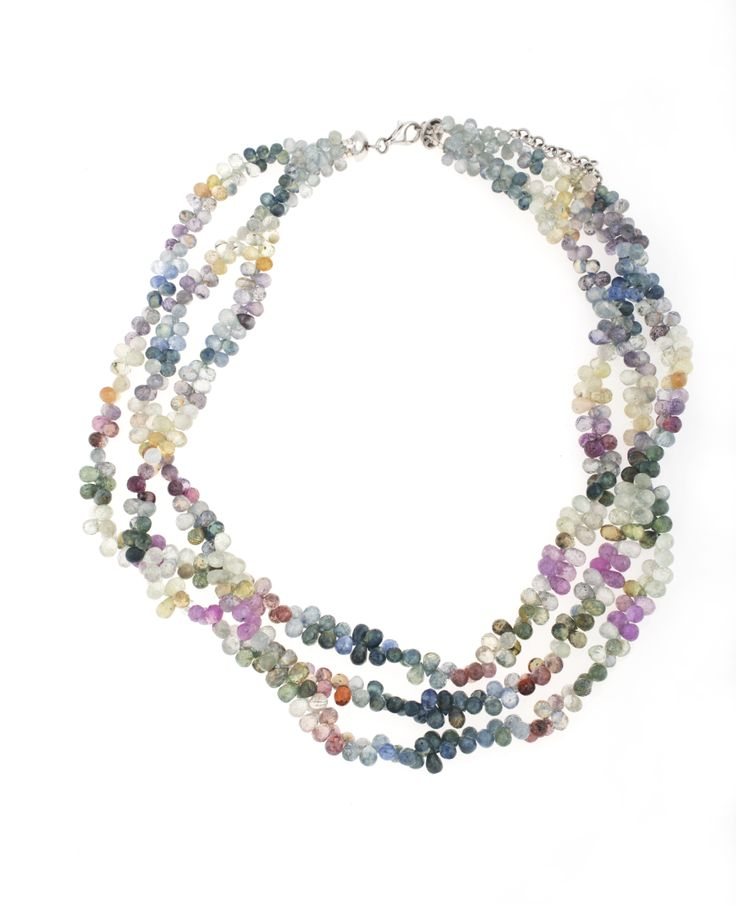 Multi-coloured briolette sapphire necklace