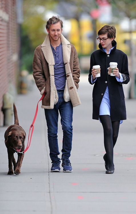 gasstation:    Anne Hathaway & Adam Shulman out in Brooklyn, October 25th #style #celebrity