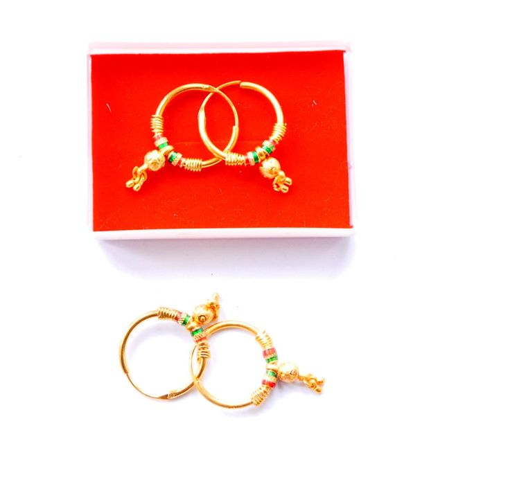 Real looking 22 ct gold plated EARRINGS - Indian hoop drop Style gift girls  h51