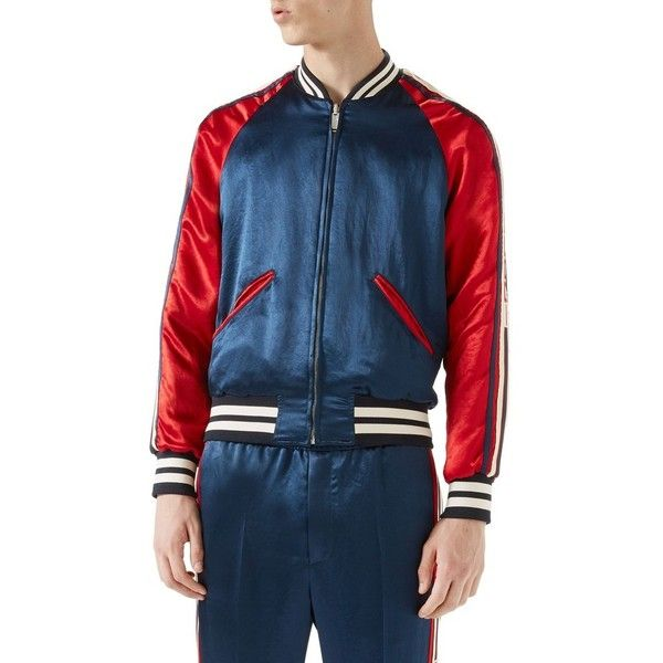 Men's Gucci Rev Souvenir Jacket ($2,490) ❤ liked on Polyvore featuring men's fashion, men's clothing, men's outerwear, men's jackets, navy, mens navy jacket, gucci mens jacket, mens jackets and mens navy blue jacket