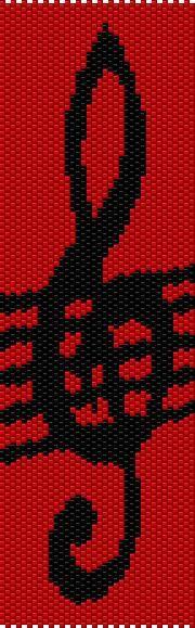 BPCL0001 Clef Even Count Single Drop Peyote Cuff/Bracelet Pattern