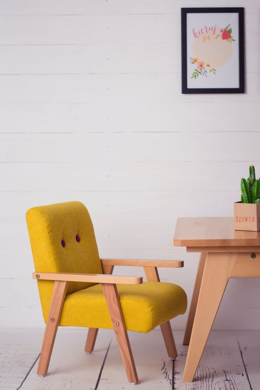 mini chair for a child from modelina home yellow-pink