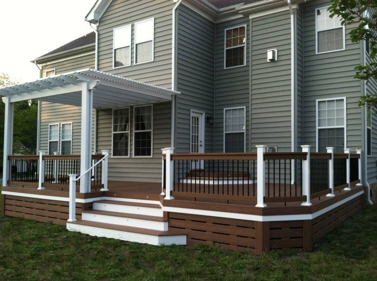 Deck underpinning ideas deck skirting idea love the for Half deck house designs
