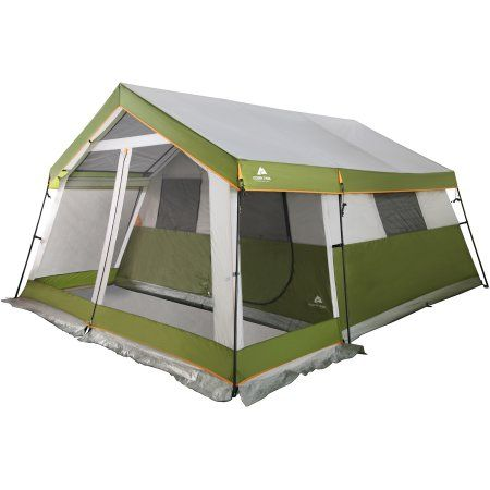 Get outdoors with the whole family in the Ozark Trail 10-Person Family Cabin Tent with Screen Porch. This tent features a large screen porch that gives you an open-air living space. The gabled roof repels water. Available at Walmart.com.