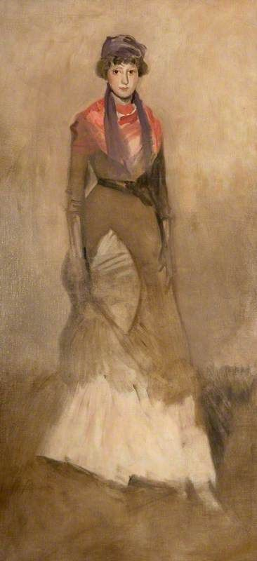 James Abbott McNeill Whistler / Harmony in Fawn Colour and Purple: Miss Finch / c. 1885 / oil on canvas