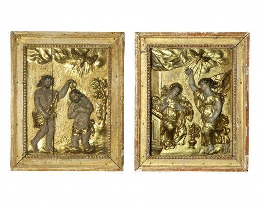 Coppia di bassorilievi in foglia d ' oro Emilia Toscana Sec XVII-XVIII