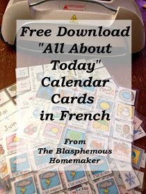 "The Blasphemous Homemaker: Free Download - French ""All About Today"" Calendar Cards"