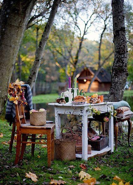 a place to ponder: Decor, Ideas, Fall Picnic, Outdoors, Picnics, Gardens, Places, Space