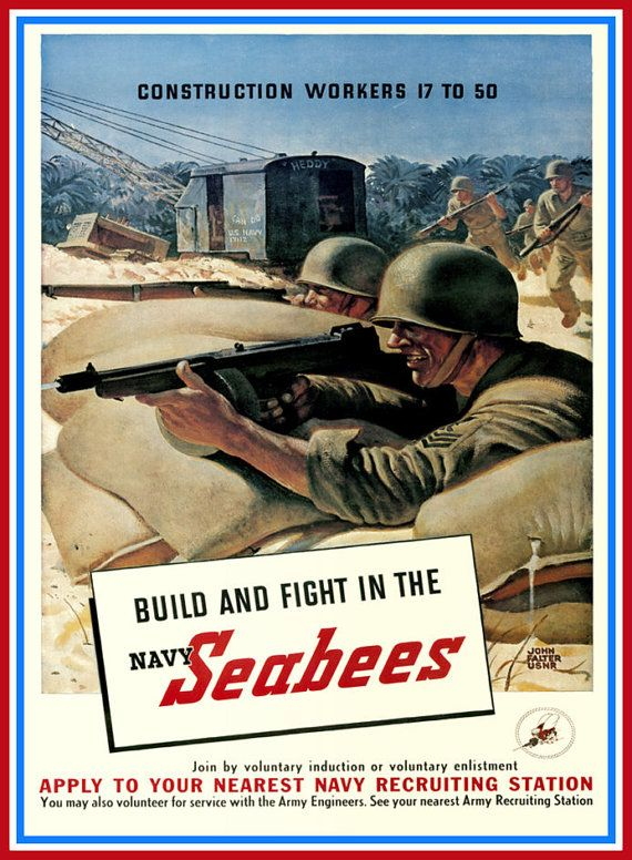 Art Print US Navy Seabees Recruiting Print .WW2 1940s Print 8 x 10 Prints from old-time Posters. This one was put out by the US Navy to recruit men into the USN Seabees. The original of it dates from the 1940s - World War II. Lovely typical old Poster advert from its time. I will be listing more of these Posters in the coming days - please check back for the new arrivals. The print will be 20cm X 25cm APPROXIMATELY 8 ins X 10 ins , depending on the proportions of the original, and will16