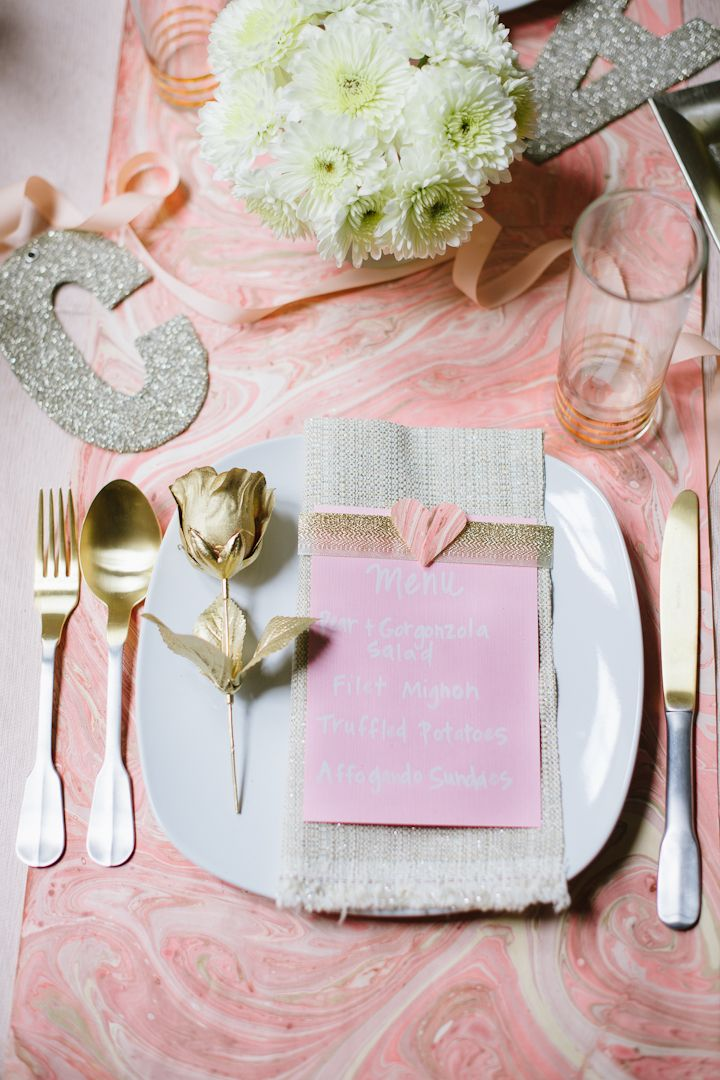 A Romantic Valentine's Day At Home | theglitterguide.com ooh the gold rose...