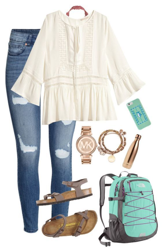 """""""yay for the first day of school tmrw"""" by monogrambelle ❤ liked on Polyvore featuring H&M, Victoria's Secret, Birkenstock, The North Face, Michael Kors, Alex and Ani, Southern Tide and S'well:"""