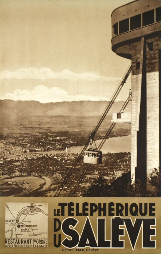 Genève, Le téléphérique du Salève (by Anonymous / 1935) Photo-montage poster for the cable car going up to the Salève-mountain, the city and the lake of Geneva in the background. This famous arrival building was built in 1932 by Maurice Braillard