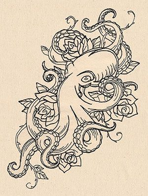 Blooming roses frame a twisting octopus in this tattoo-style design.