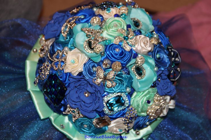 blue wedding satin diy bouquet
