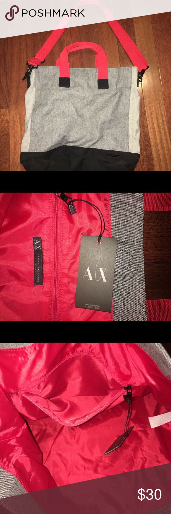 Armani Exchange Tote Bag (NWT) Large bucket tote in gray and black with red interior and handles + alternate cross body strap. Materials: 100% cotton, lining: 100% polyester Measurements; Length: 17' Width: 4' Height: 16' Handle drop: shorter 5', londer is adjustable and detachable' + magnetic snap closure, 2 handle fdrop, one adjustable and detachable long strap A/X Armani Exchange Bags Totes