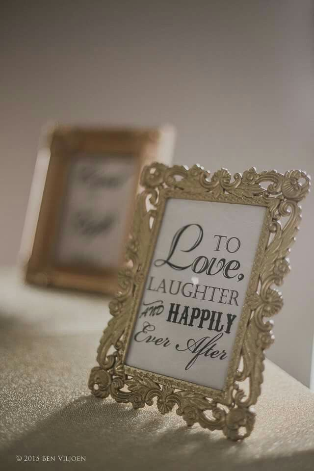 Old Hollywood Glamour wedding.  Gold frames with lovely quotes brings everything together.