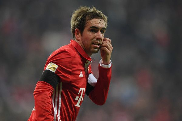 Philipp Lahm of Muenchen looks on during the Bundesliga match between Bayern Muenchen and Bayer 04 Leverkusen at Allianz Arena on November 26, 2016 in Munich, Germany.