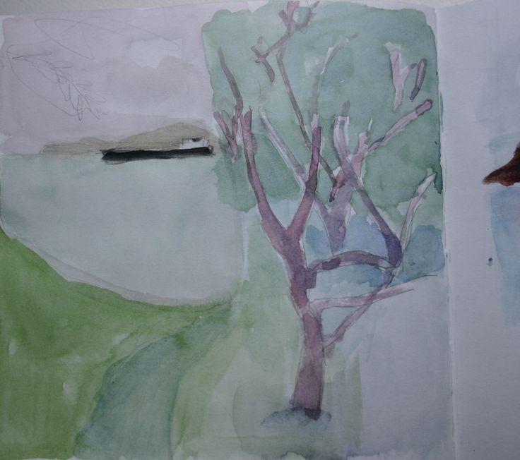 Sketchbook oil tanker and tree
