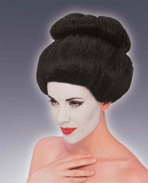 Geisha Wig - Be the symbol for subtly, strength and grace, the traditional Geisha costume.  This wig completes any Geisha costume, it is black synthetic hair, pulled into a top bun and has a pink bow tied into the wig. The wig has a breathable mesh wig cap that keeps your hair in with reinforced sides.  Serve the tea and entertain all night long in this traditional geisha wig this Halloween. Also works for Sumo wrestlers too, just take out the pink bow! #geisha #yyc #costume #wig
