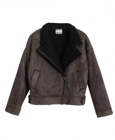 Suede Nap Lapel Collar Cotton Coat