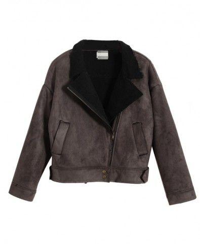 Suede Nap Lapel Collar Cotton Coat