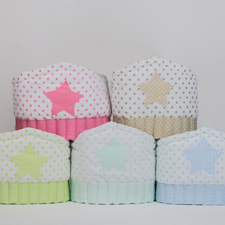Crib bumper Stars - Baby cot bumper Beige Blue Mint Green Pink by CotandCot on Etsy