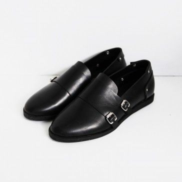 [Buckled Stud Flats] Faux leather #flats featuring two buckles and studs. Round toe. #flatshoes #blackshoes #dressshoes #buckledshoes #studs #shoes #koreanshoes #shoesonline #shoeshopping #shopping #onlineshopping #shoppingonline