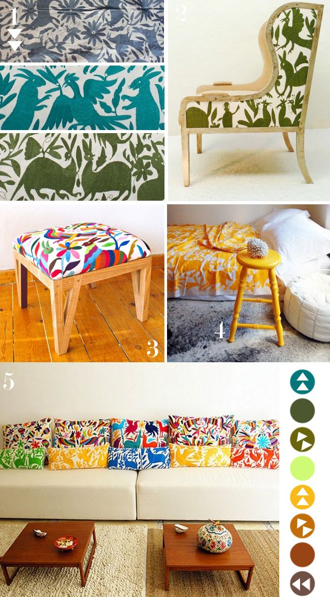definitely want some colorful pillows, and i am having a major otomi moment right now.