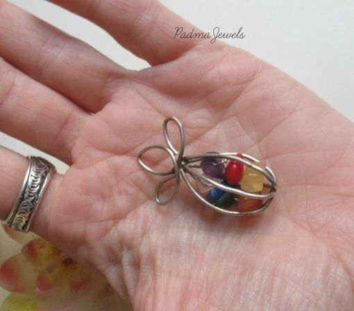 Cage, chakras stones, silver cage, boho jewels, healing stones, by PadmaJewels
